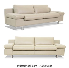 Beige Sofa isolated with different angles in white background