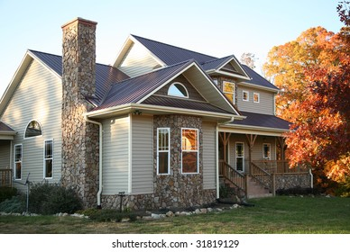 Beige and Stone House in the Fall