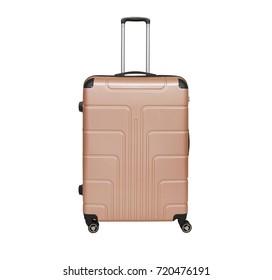 Beige suitcase isolated on white background. Polycarbonate suitcase isolated on white. Beige suitcase.