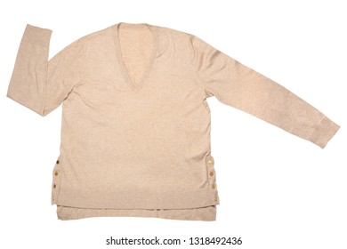Beige sweater isolated on white background