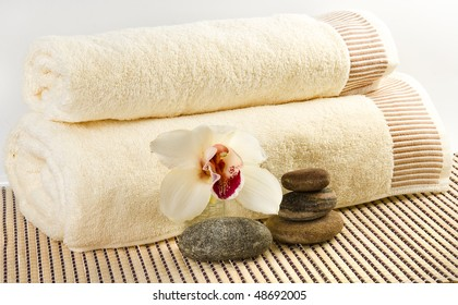 beige towel and means for body care (SPA concept)