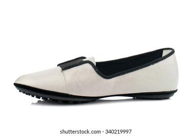 Beige women shoe isolated on white background.