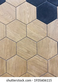 beige wood effect tiles, hexagon-shaped decorative wall tiles