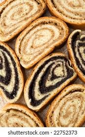 Beigli - hungarian poppy seed and walnut rolls closeup