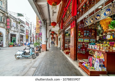 Beihai - China. April 21,2018. Beihai Old Street, iwith lots of century-old buildings, was built in 1883, 1.44 km long, 9 meters wide, arcade street full of Chinese and Western architecture.