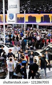 BEIJIGNCHINA-May 3, 2016: At the Beijing International Auto Show, the staff introduced the cars of SAIC Group to the buyers.  At present, there are over 310 million vehicles in China.
