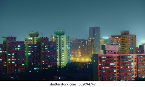 Beijing from above aerial shot at night