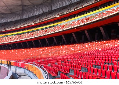 BEIJING - APRIL 12. Bird's nest interior at Apr. 12, 2011. The Bird's Nest is a stadium in Beijing, China. It was designed for use throughout the 2008 Summer Olympics and Paralympics.