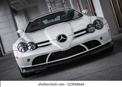 BEIJING - APRIL 4, 2011: Mercedes-Benz SLR McLaren 722S roadster (2009),  a limited edition of SLR, a grand tourer developed by Mercedes-Benz and McLaren. Powered by 617hp supercharged AMG V8 engine.