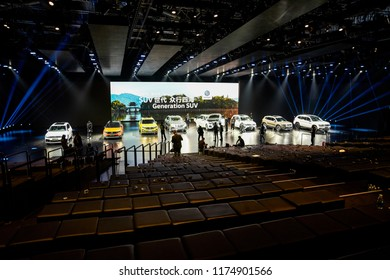 Beijing, Asia, China, March 23, 2018: The German car brand Volkswagen, the event at the auto show center in Beijing, is full of people coming and going.