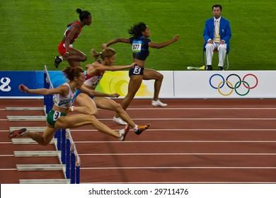 BEIJING - AUG 18: Women's 110 meter hurdle race Summer Olympic Games. August 18, 2008 Beijing, China