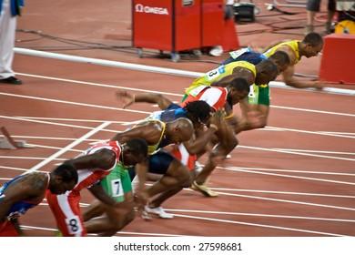 BEIJING - AUGUST 18: Start of Men's 100 meter sprint where Usain Bolt wins and