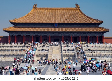 Beijing. China. 05.25.05. Tourist crowds in the Forbidden City in Beijing, China. The former Chinese imperial palace from the Ming dynasty to the end of the Qing dynasty (1420 to 1912).