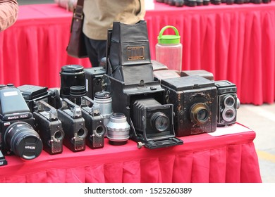 Beijing, China - 11 April 2015: Classical cameras and equipment in a booth at Beijing used camera trade  fair