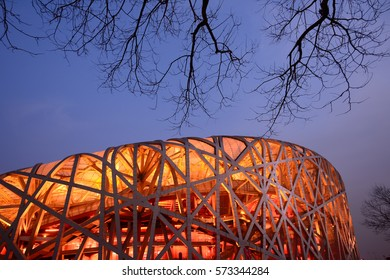 Beijing, China - 19 Jan, 2017: Night view of Beijing National Stadium (Bird's Nest). The stadium was used for 2008 Summer Olympics and will be used in 2022 Winter Olympics.