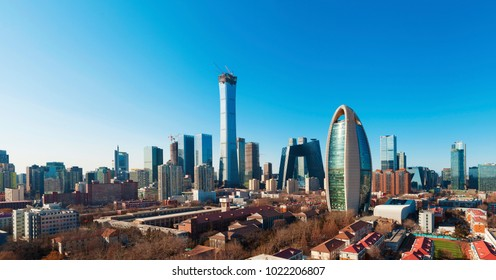 Beijing - China - 2 February,2018: Central Business District of Beijing. It is the home of many high-end enterprises such as finance, insurance, real estate and internet.