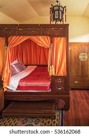 BEIJING, CHINA - 21 MARCH, 2016: Interior of a traditional hotel in the Hutong area of Beijing, China on 21 March, 2016. The hutong are is the old town of Beijing ,located in the center of the city.