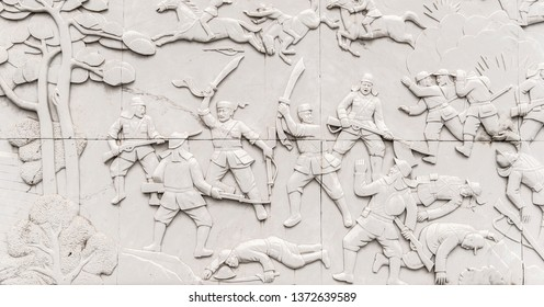 Beijing, China - 23 Feb 2016: Jinshanling Great Wall Bricks with Characters; Wall Sculptures on the Great Wall of China