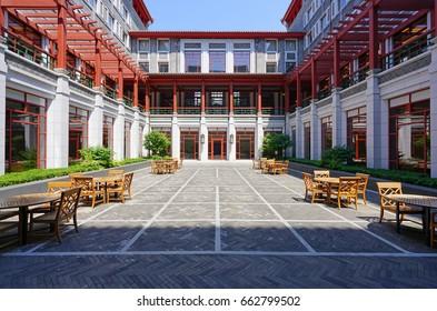 BEIJING, CHINA -5 JUN 2017- Interior view of Schwarzman College, host of the prestigious Schwarzman scholars, on the campus of Tsinghua University (THU), one of the world's best engineering schools.
