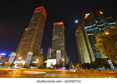 BEIJING, CHINA -5 JUN 2017- Night view of the Beijing Yintai Centre skyscraper building complex located in Central Business District of Beijing opposite the World Trade Center.