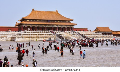 Beijing, China - Apr. 18, 2018: Tourists visit the Hall of Supreme Harmony in the Forbidden City, Beijing, China.