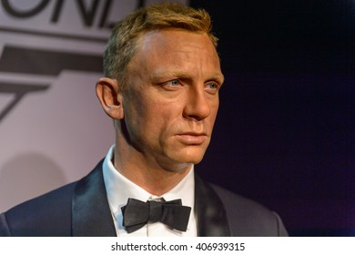 BEIJING, CHINA - APR 6, 2016: Daniel Craig as 007 agent James Bond,  Beijing Madame Tussauds wax museum. Marie Tussaud was born as Marie Grosholtz in 1761