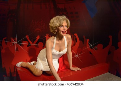 BEIJING, CHINA - APR 6, 2016: Merelyn Monroe at the Beijing Madame Tussauds wax museum. Marie Tussaud was born as Marie Grosholtz in 1761