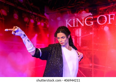 BEIJING, CHINA - APR 6, 2016: King of pop Michael Jackson at the Beijing Madame Tussauds wax museum. Marie Tussaud was born as Marie Grosholtz in 1761