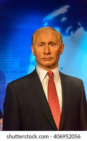 BEIJING, CHINA - APR 6, 2016: Vladimir Putin, Oresident of Russia, at the Beijing Madame Tussauds wax museum. Marie Tussaud was born as Marie Grosholtz in 1761