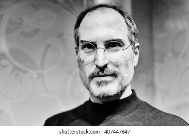 BEIJING, CHINA - APR 6, 2016: Steve Jobs in black and white at Beijing Madame Tussauds wax museum. He was the co-founder of Apple Inc