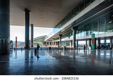 BEIJING, CHINA - APR 6: Early morning scene at Capitol Airport in Beijing, China on April 6, 2018.