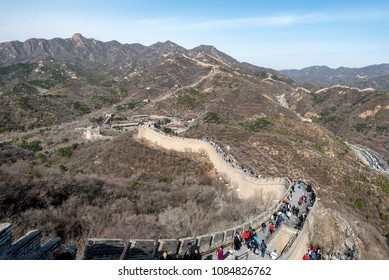 BEIJING, CHINA - APR 6: Scene at the Great Wall of China with visiting tourists on April 6, 2018.  The wall is one of few man made objects viewable from space.