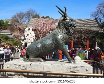 Beijing, China, April 11, 2018. Bronze Qilin Statue at Summer Palace, Beijing, China.