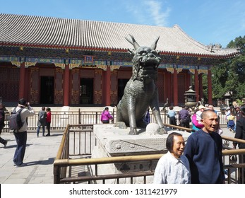 Beijing, China, April 11, 2018. Bronze Qilin Statue in front of Hall of Benevolence and Longevity at Summer Palace, Beijing, China.