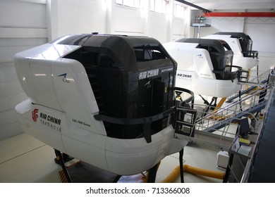 BEIJING, CHINA – APRIL 14 2015: Air China's pilot training centre in Beijing prepares to welcome new captains and first officers for flying training in full-motion aircraft simulators.