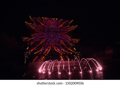 BEIJING, CHINA, APRIL 14, 2018: night view of colorful musical fountain at Beijing Water Town