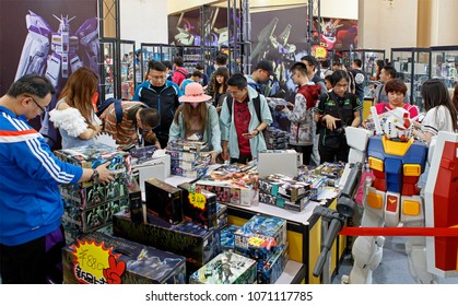 BEIJING, CHINA- APRIL 23, 2016: Visitors crowd a booth during the Hobby Expo China 2016 at the Beijing Exhibition Centre