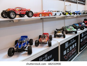 BEIJING, CHINA- APRIL 23, 2016: RC model cars are on display during the Hobby Expo China 2016 at the Beijing Exhibition Centre