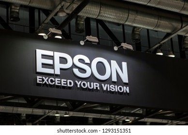 BEIJING, CHINA- APRIL 23, 2017: Epson sign; Seiko Epson Corporation, also known as Epson, is a Japanese company founded in 1942 and is one of the world's largest manufacturers of computer printers.