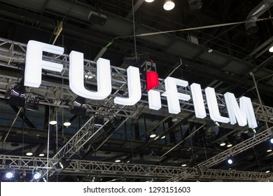 BEIJING, CHINA- APRIL 23, 2017: Fujifilm sign; Fujifilm is a Japanese multinational photography and imaging company founded in 1934.
