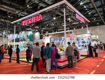 BEIJING, CHINA - APRIL 24, 2016: TOSHIBA booth at the 19th China International Photography & Electrical Imaging Machinery and Technology Fair.