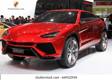 BEIJING, CHINA - APRIL 28, 2012:  A Lamborghini Urus is on display at the 2012 Beijing International Automotive Exhibition(Auto China 2012)