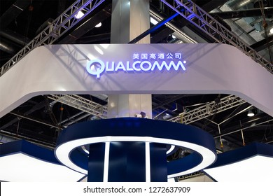 BEIJING, CHINA- APRIL 29, 2017: Qualcomm sign; Qualcomm is an American company founded in 1985. It takes part in the industry of the telecommunications and semiconductors, and serves worldwide.