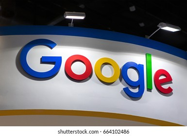 BEIJING, CHINA- APRIL 29, 2017:  Google sign is seen at the 2017 The Global Mobile Internet conference, China National Convention Center.