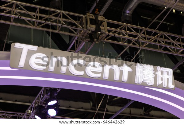 BEIJING, CHINA- APRIL 29, 2017:  Tencent sign; Tencent Holdings Limited is a Chinese company founded in 1998, and is one of the largest Internet companies in the world.