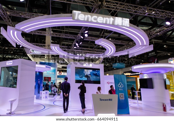 BEIJING, CHINA- APRIL 29, 2017:  Tencent booth at the 2017 The Global Mobile Internet conference. Tencent Holdings Limited is one of the largest Internet companies in the world.