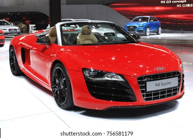 BEIJING, CHINA, APRIL 30, 2012: Audi R8 Spyder is on display at the 2012 Beijing International Automotive Exhibition (Auto China 2012)