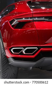 BEIJING, CHINA - APRIL 30, 2012:  Rear view of a Lamborghini Urus on display at the 2012 Beijing International Automotive Exhibition (Auto China 2012)