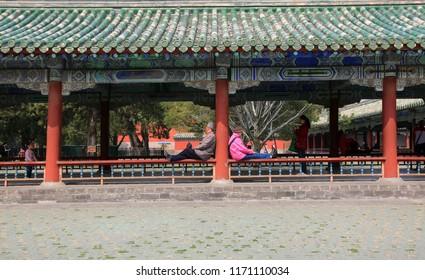 Beijing, China, April 4, 2017. People in the city park in Beijing