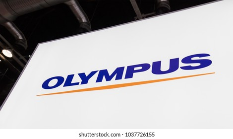 BEIJING, CHINA- AUGUST 19, 2017: Olympus sign; Olympus is a Corporation established in 1919 which business lines are Manufacture and sales of precision machineries and instruments